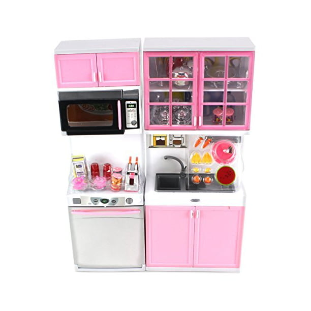 Modern Kitchen 16 Battery Operated Toy Kitchen Playset Perfect For Use With 11 12 Tall Dolls Walmart Com Walmart Com