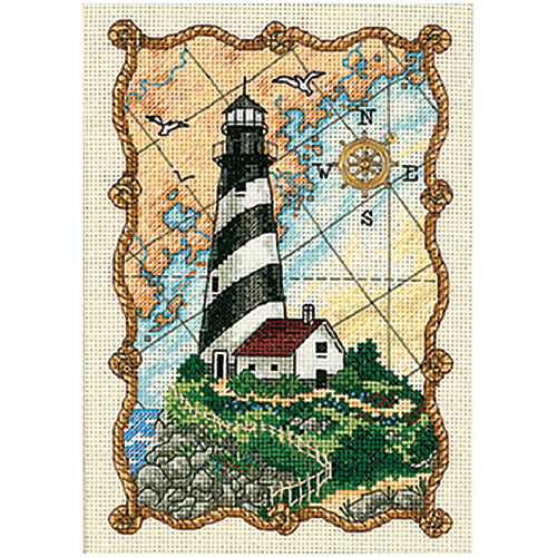 """5""""X7"""" 18 Count - Gold Petite Mariner's Light Counted Cross Stitch Kit"""