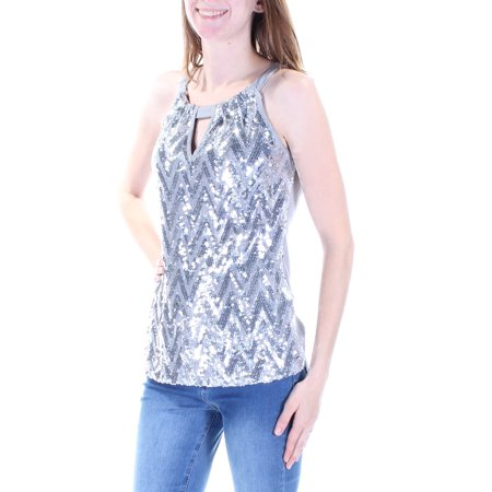 INC Womens Silver Sequined Chevron Sleeveless Keyhole Top  Size: XS