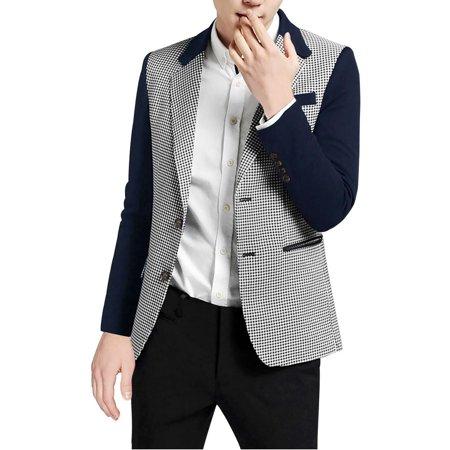 Unique Bargains Men's Notched Lapel Houndstooth Pattern Split Side Blazer - Suit Bargain