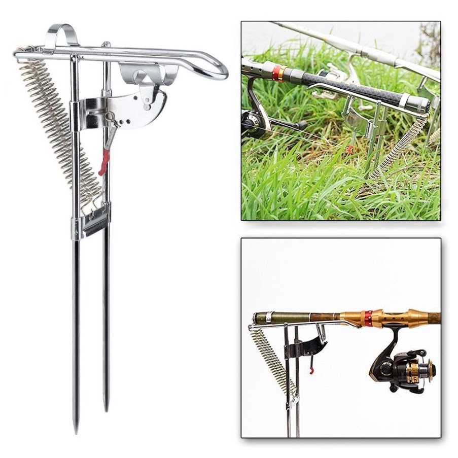 Fishing Rod Holder Stainless Steel Ground Support Stand Adjustable Sensitivity Fish Pole Folding Holder