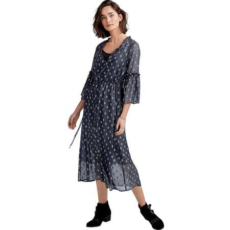 Ellos Plus Size Ruffle-sleeve Sheer Midi Dress