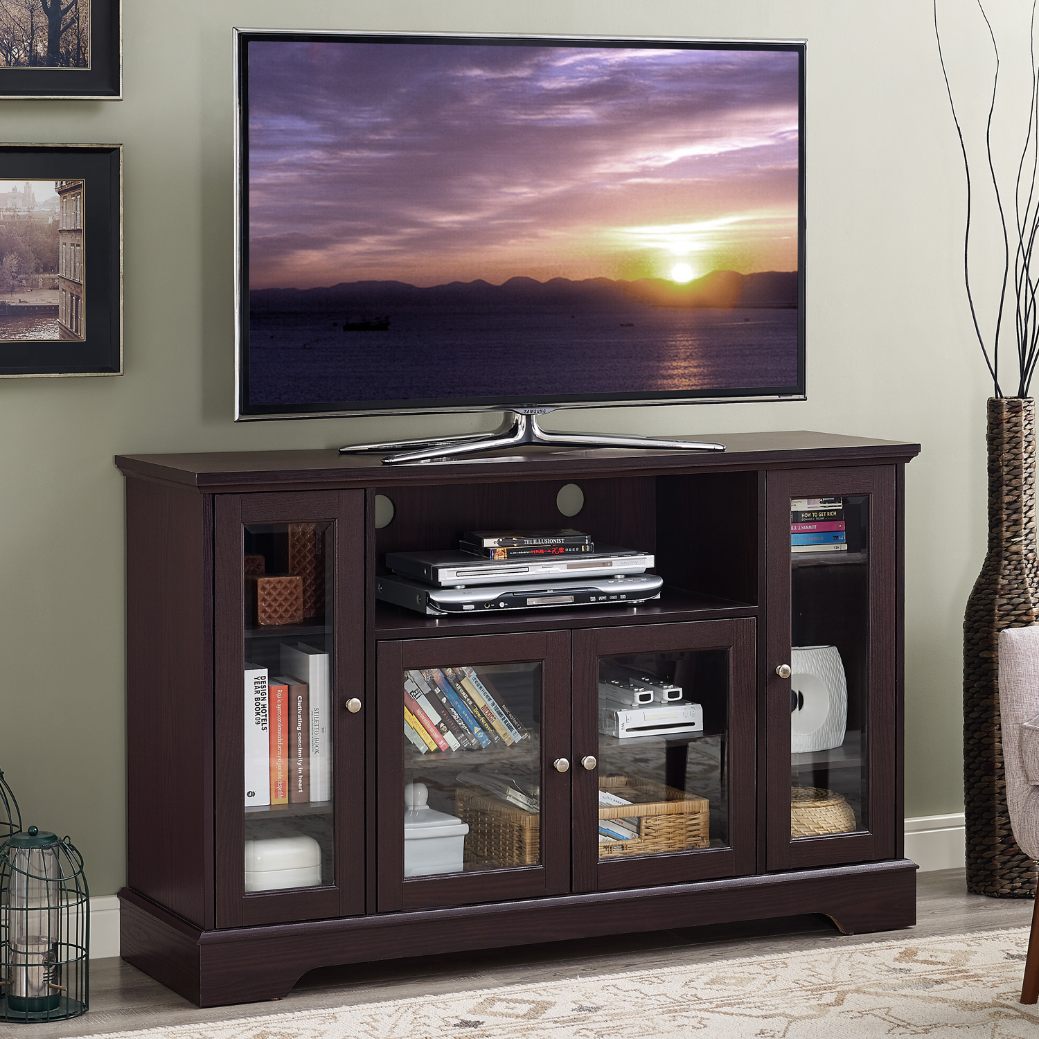 Home Source Mocha Plasma TV Stand with 4 Glass Storage Cabinets and Middle Shelf