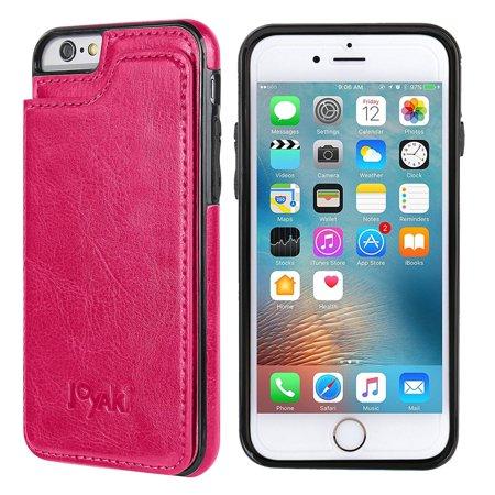 iPhone 6/6s Wallet Case-JOYAKI PU leather card Case -Slim fit Executive Wallet Card Case - Ultra Slim Protective Phone Case (Deeppink)