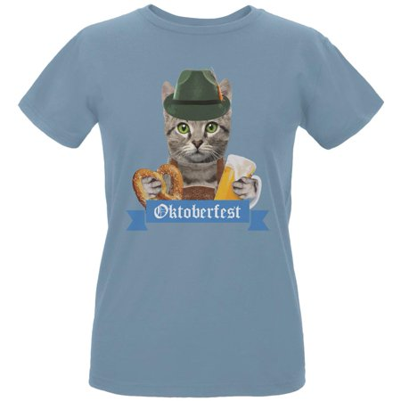 Oktoberfest Funny Cat Womens Organic T Shirt - Cat Woman