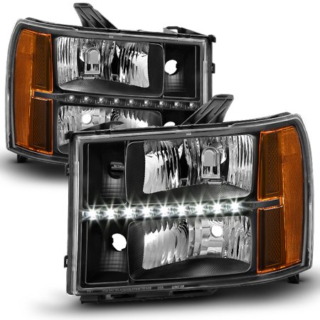 Upgrade Rotor Head - Fit [GMT900 Upgrade Kit] 2007-2013 GMC Sierra Pickup Black LED DRL Headlights