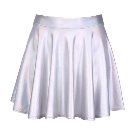 adaad377e8d HDE Women s Casual Fashion Flared Pleated A-Line Circle Skater Skirt ( Holographic