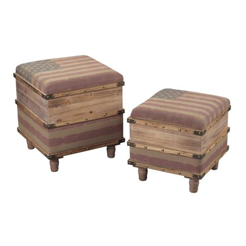 Sterling Industries 138-081/S2 National-Set Of 2 Wooden Storage Ottomans