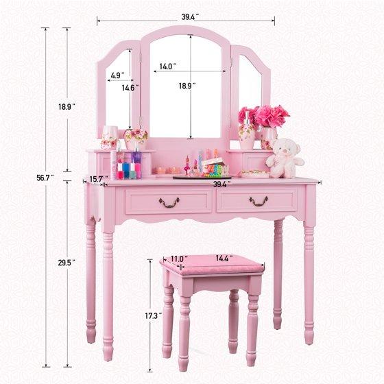 Fineboard Elegant Vanity Dressing Table Set Makeup Dressing Table ...