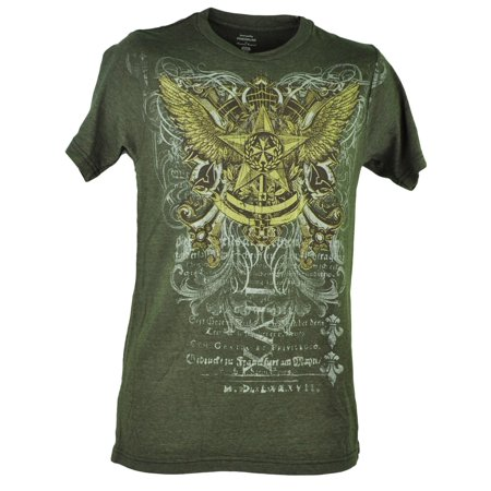 Star Wings Graphic Design Heather Olive Green Gold Tshirt Mens Adult Tee Small Heathered Olive Green
