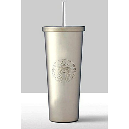 Starbucks Siren Silver Stainless Steel Cold Cup Tumbler with Straw, 24 oz.