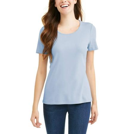 6c1d4c40 Time and Tru - Women's Classic Short Sleeve Scoopneck T-Shirt - Walmart.com