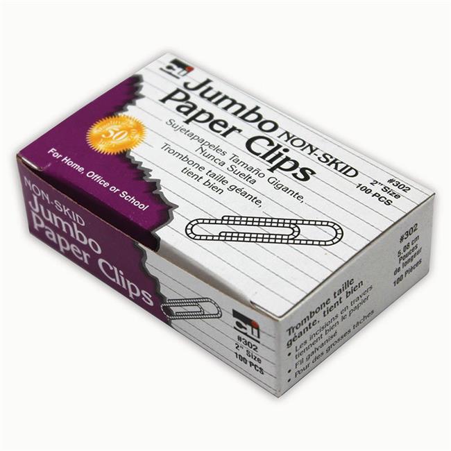 Charles Leonard CHL302BN Non Skid Jumbo Paper Clips - Pack of 3