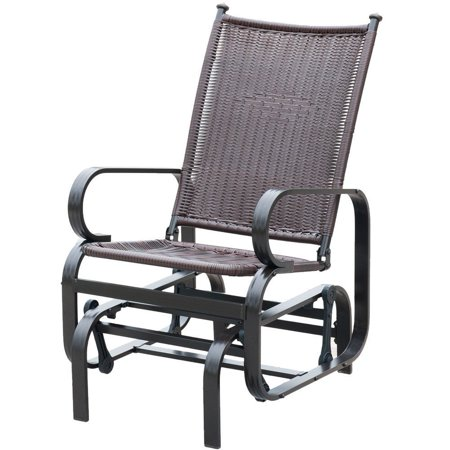 Patiopost Glider Chair Outdoor Pe Wicker Patio Rocking Brown