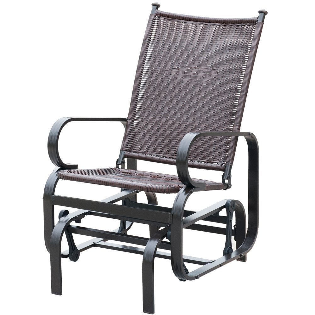 PatioPost Glider Chair Outdoor PE Wicker Patio Rocking Chair, Brown