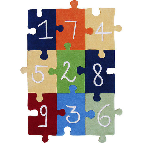 Wildon Home   Wildon Home   Kids Numbers Puzzle Navy/Red/White/Orange Area Rug