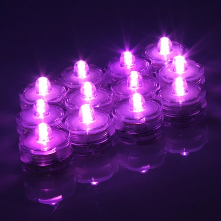 12x LED Submersible Waterproof Wedding Decoration Battery Light Candles White/Warm White/RGB/Blue Purple/Pink Purple (Candle Chandelier Outdoor)