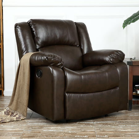 Belleze Deluxe Padded Faux Leather Recliner Chair Lounge Club Seat, Brown