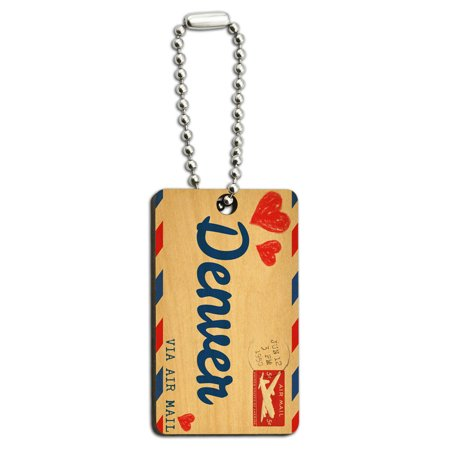 Air Mail Postcard Love For Denver Wood Rectangle Key Chain