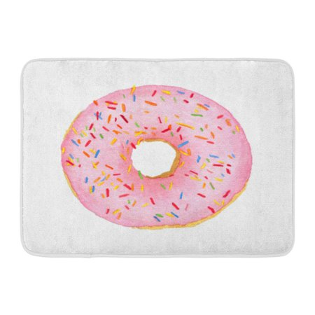 GODPOK American Doughnut Watercolor Pink with Sprinkles Donut White Top View Above Baked Rug Doormat Bath Mat 23.6x15.7 inch - Above Door Decor