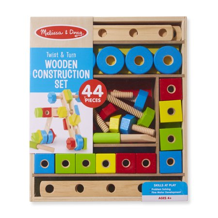 Melissa Doug Twist Turn Wooden Tools Construction Play Set 44 Pieces