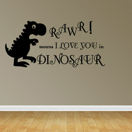 Wall Decal Quote Rawr Means I Love You In Dinosaur Playroom Sticker Decor R45 - Dinosaur Wall Decor