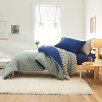 The Comfort Pak, Washed Blue & Gray 20-Piece Bedding Comforter Set, Twin XL, including BONUS Mattress Topper, 2 Pillows, Storage Set and 100% Cotton Towel Set by OCM