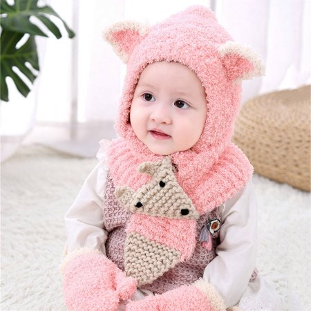 Crochet Hat And Scarf Set (Toddler Girls&Boys Baby Winter Crochet Knit Hat Beanie Cap Scarf Gloves Set)