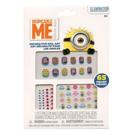 Minions 65 Piece Decorative Nail Art Kit, Includes 12 press-on nail stickers, 24 colorful nail decals and 29 nail gems By Despicable Me Ship from US - Minion Makeup