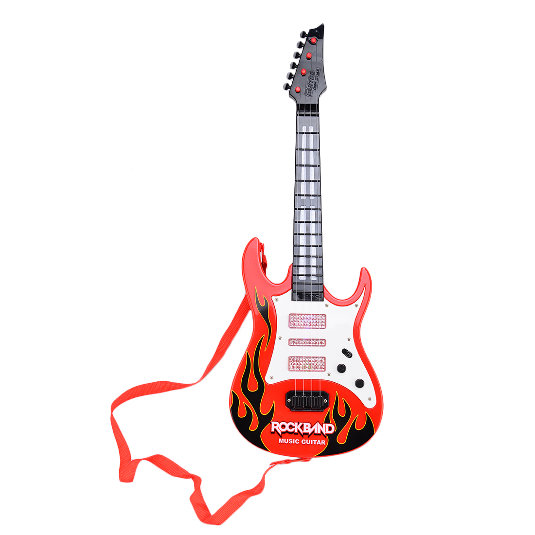 Electric Guitar 4 Strings Rock Band Music Red Flame Guitar Kids Musical Instruments... by