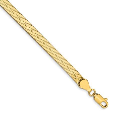 "14K Yellow Gold 4 MM Silky Herringbone Link Bracelet, 8"""