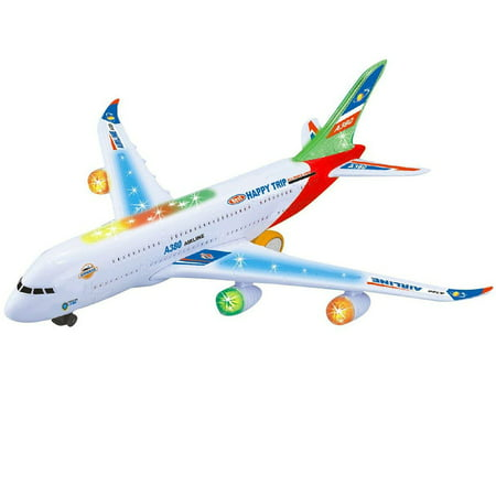 Kids Electric Airplane Toy Simulation Aircraft Jet Toy with Flashing Lights & Realistic Engine Sounds 360° Rotating A380 Plane Model Toy Color:A380