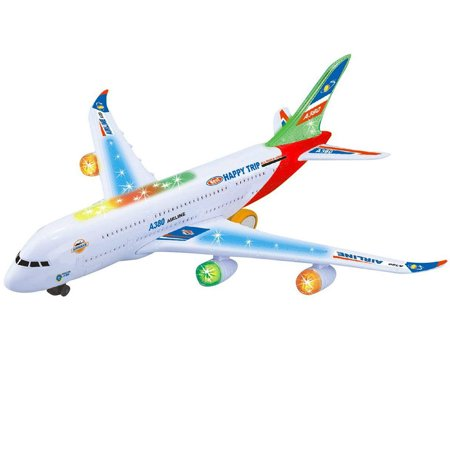 Kids Electric Airplane Toy Simulation Aircraft Jet Toy with Flashing Lights & Realistic Engine Sounds 360° Rotating A380 Plane Model Toy Color:A380 ()