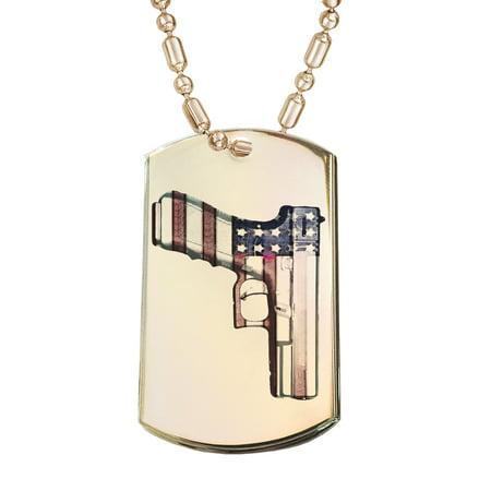 Gun Dog Supply - KuzmarK Gold Pendant Dog Tag Necklace - American Flag Gun Rights Gold Dog Tag Necklace