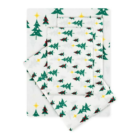 Christmas Trees Holiday Festive Green, Red & Yellow Full Sheet Set (4 Piece Set) ()