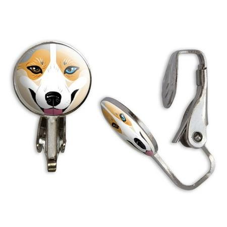 Welsh Corgi Earrings (Blue Merle Tri Cardigan Welsh Corgi Face - Dog Pet Clip-On Stud)