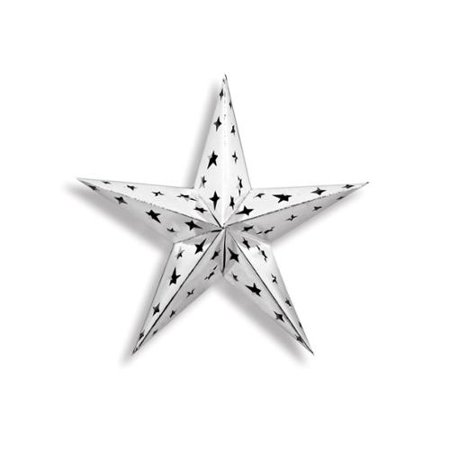 Starry Night Themed Silver 3-D Foil Star Cutout Party Decoration - Star Theme Decorations