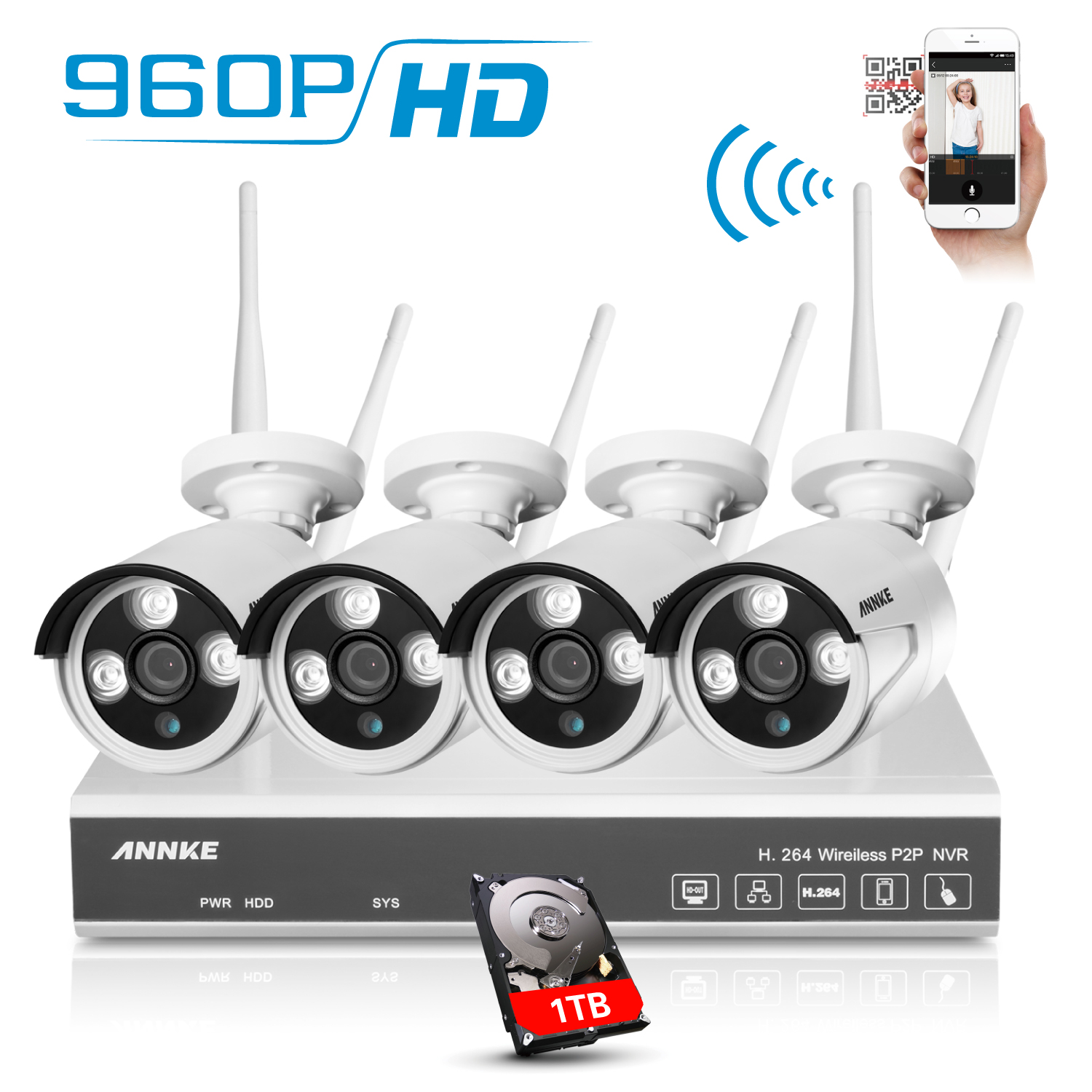 Annke 960P HD Wireless Network/IP Security Camera System, 4CH WIFI NVR with 4x 1.3MP Surveillance Cameras, Quick Remote view, 1280*960 High Resolution with Superior Night vision-1TB HDD
