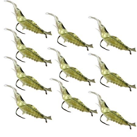 Tuscom 10pcs Shrimp Soft Prawn Lure Hook Tackle Bait Saltwater Bass Fishing (Best Soft Bait For Bass)