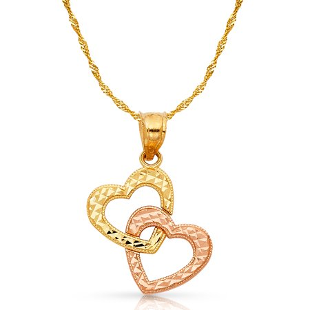 14K Two Tone Gold Double Hanging Heart Charm Pendant with 1.2mm Singapore Chain Necklace