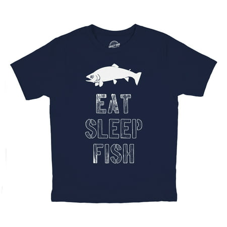 Youth Eat Sleep Fish T Shirt Funny Fishing Tee Cool Graphic Fun Crazy for Kids