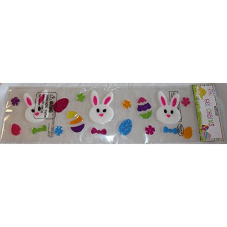 Nantucket Home White Easter Bunny Faces and Eggs Gel Window Clings](Gel Window Clings)