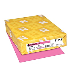 "Astrobrights® Colored Card Stock, Bright Color Cover Paper, 8 1/2"" x 11"", FSC® Certified, 65 Lb, Pulsar Pink™, Pack Of 250 Sheets"