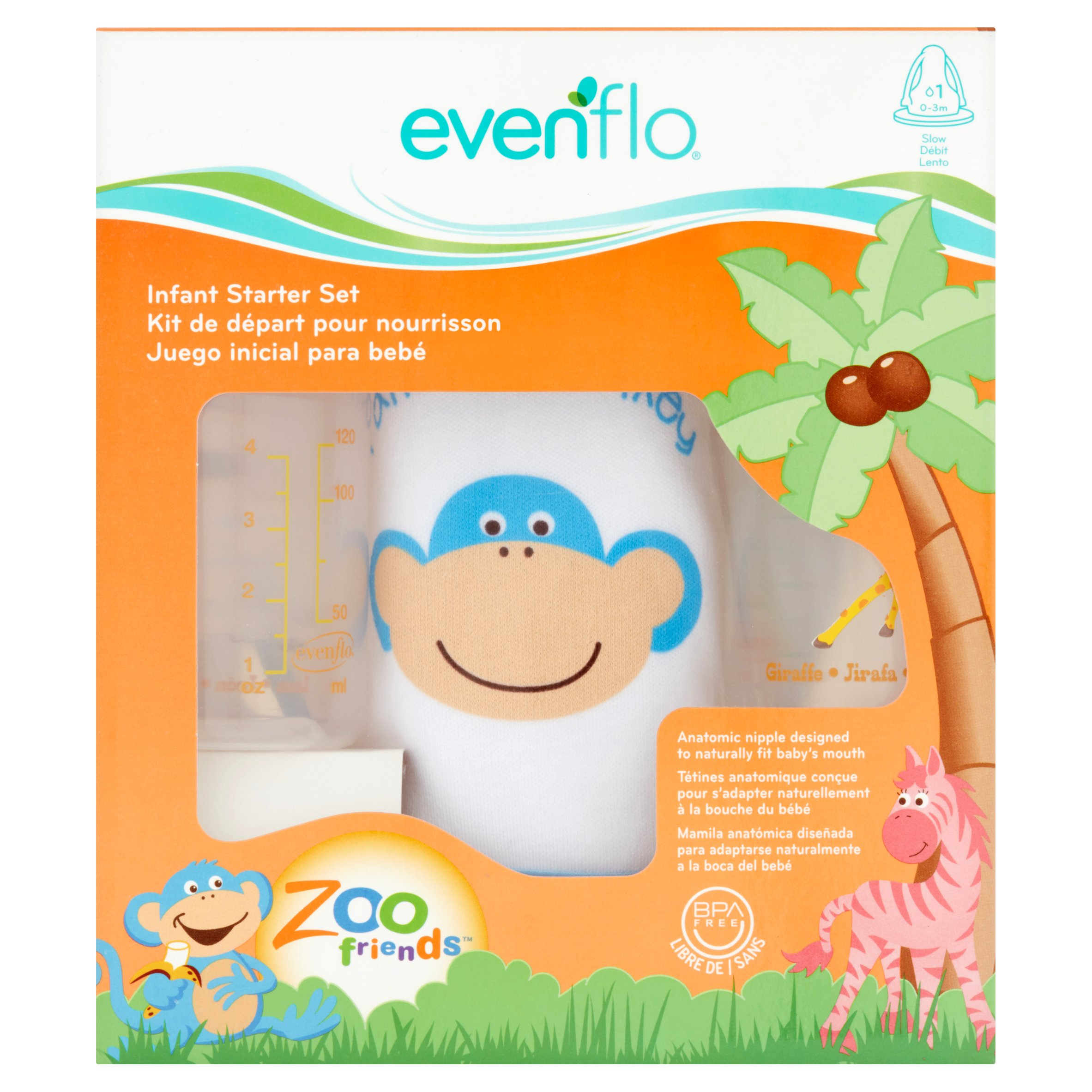 Evenflo Zoo Friends Slow Infant Starter Set 0-3 M