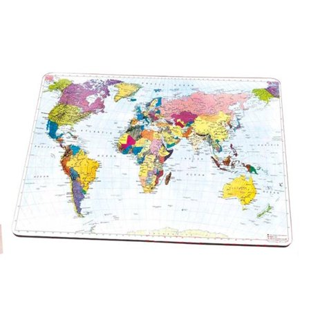 Bright Colorful Map of the World Mousepad with Goldtone Bookmarker, MP-MAP3