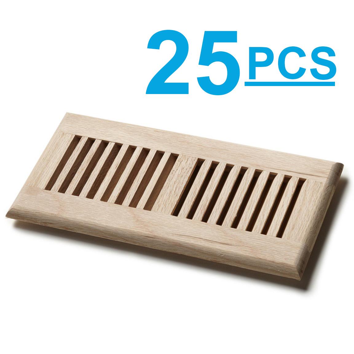 "Venice LOT 25pcs 4""x12"" White Oak Wood Vent Floor Self Rimming Unfinished Damper"