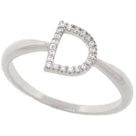 - 18kt White Gold-Plated Sterling Silver D Initial Stackable Ring with Crystal Swarovski