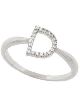 9d3a99182bf169 Product Image 18kt White Gold-Plated Sterling Silver D Initial Stackable  Ring with Crystal Swarovski