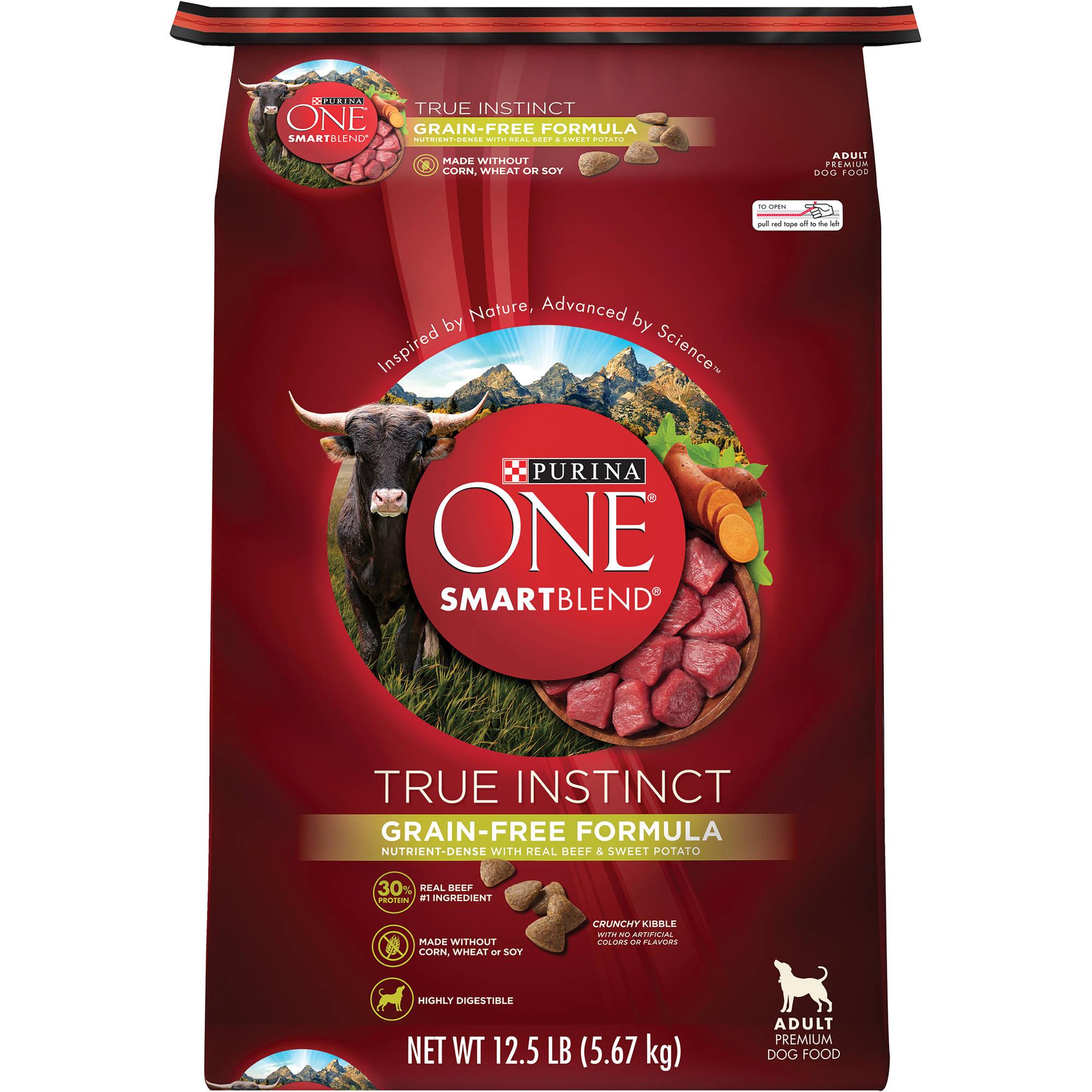 Purina ONE SmartBlend True Instinct Grain-Free Formula with Real Beef & Sweet Potato Dog Food 12.5 lb. Bag