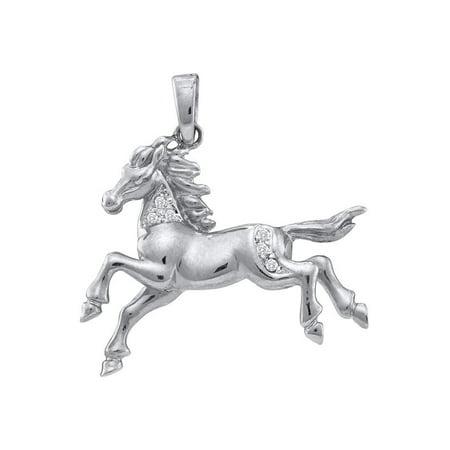 10k White Gold Womens Round Diamond Horse Mare Animal Large Pendant 1/20 Cttw